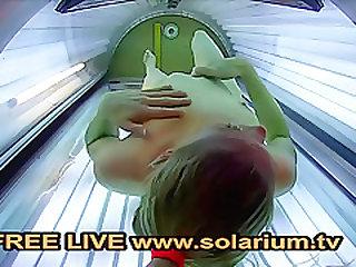 Solarium Cam Blonde Teen fingers herself in the Public Voyeur solarium